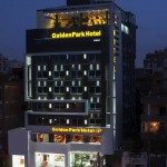 Golden Park entrance by night